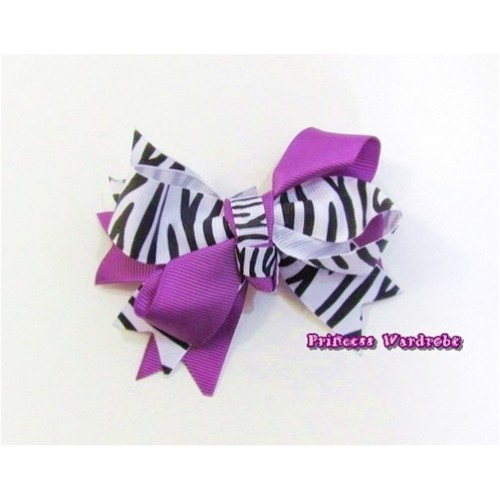 Dark Puple Zebra Screwd Ribbon Bow Hair Clip H564