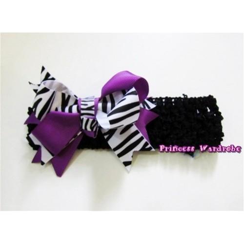Black Headband with Dark Purple Zebra Screwed Ribbon Hair Bow Clip H572