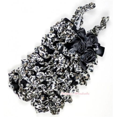 Black Leopard Petti Rompers With Straps With Big Bow & Bunch Of Black Satin Rosettes& Crystal LR146