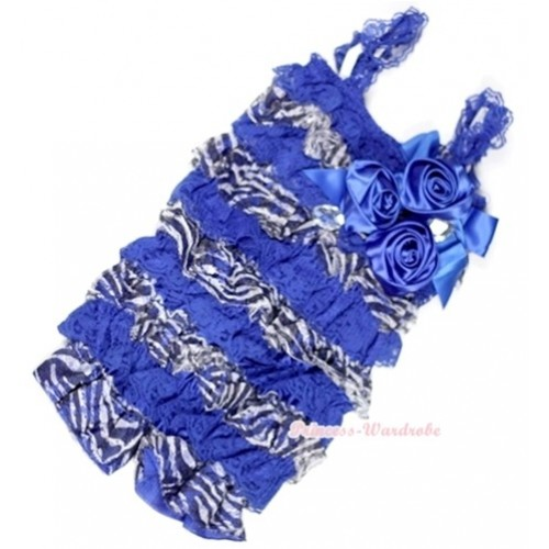 Royal Blue Zebra Lace Ruffles Petti Rompers With Straps With Big Bow & Bunch Of Royal Blue Satin Rosettes& Crystal LR148