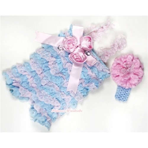 Light Blue Pink Lace Ruffles Petti Rompers With Straps With Big Bow & Bunch Of Light Pink Satin Rosettes& Crystal,With Light Blue Headband Light Pink Peony RH104