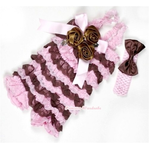 Light Pink Brown Lace Ruffles Petti Rompers With Straps With Big Bow & Bunch Of Brown Satin Rosettes& Crystal,With Light Pink Headband Brown Satin Bow RH109