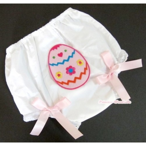 White Bloomer With Easter Egg Print & Light Pink Bow BL78