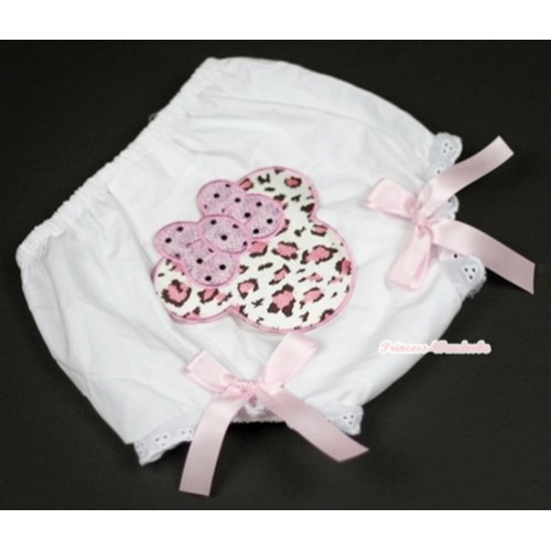 White Bloomer With Light Pink Leopard Minnie Print & Light Pink Bow BL82