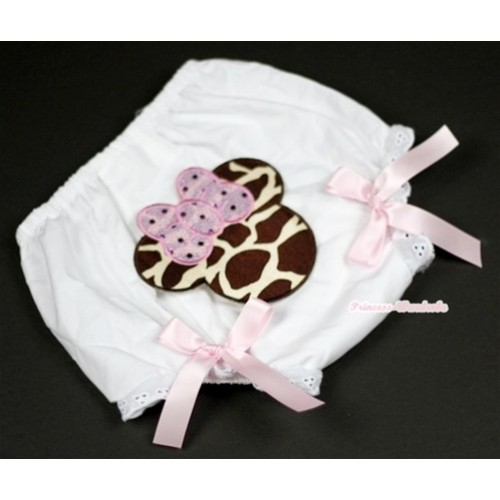 White Bloomer With Brown Giraffe Minnie Print & Light Pink Bow BL83