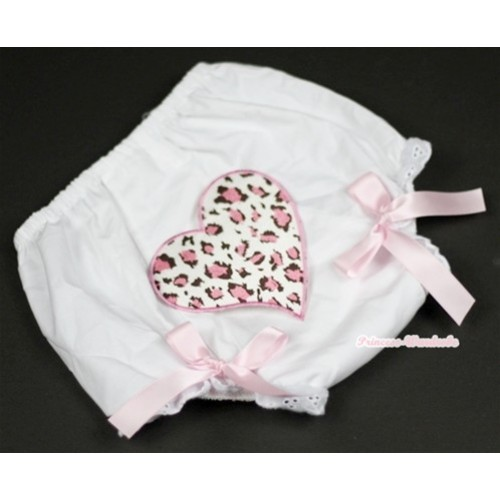 White Bloomer With Light Pink Leopard Heart Print & Light Pink Bow BL84