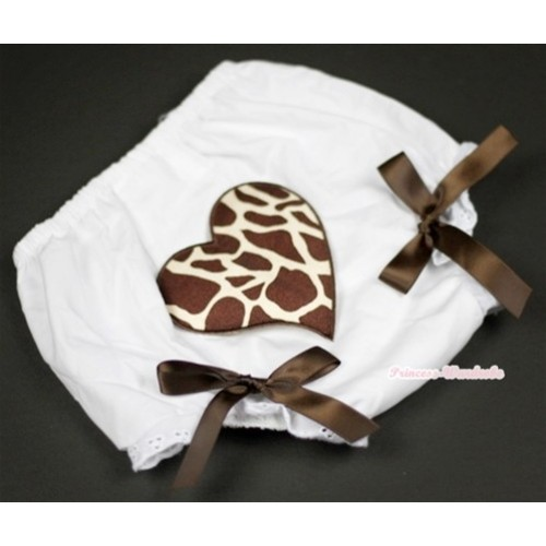 White Bloomer With Brown Giraffe Heart Print & Brown Bow BL85