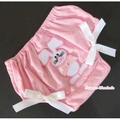 Light Pink Bloomer With Light Pink Bow Bunny Rabbit Print & White Bow BL88