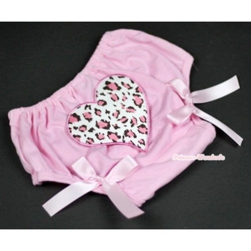 Light Pink Bloomer With Light Pink Leopard Heart Print & Light Pink Bow BL90