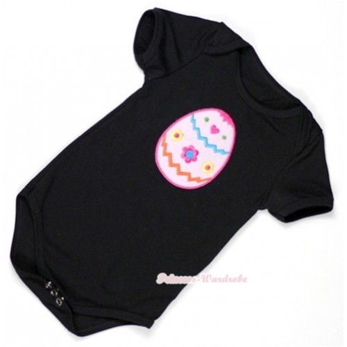 Black Baby Jumpsuit with Easter Egg Print TH293