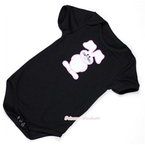 Black Baby Jumpsuit with Bunny Rabbit Print TH294