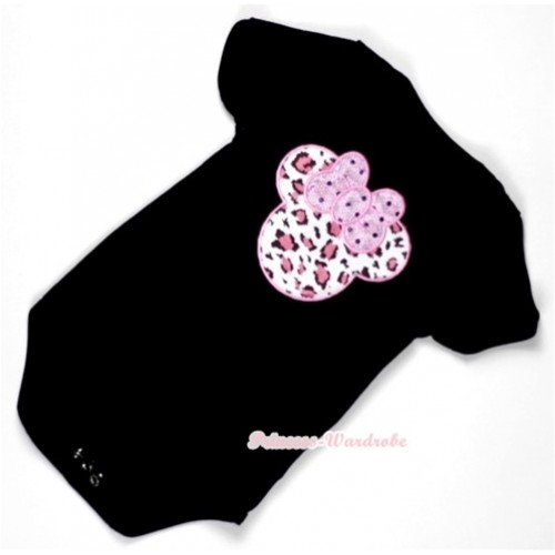 Black Baby Jumpsuit with Light Pink Leopard Minnie Print TH295