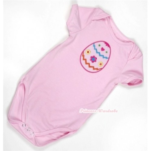 Light Pink Baby Jumpsuit with Easter Egg Print TH302
