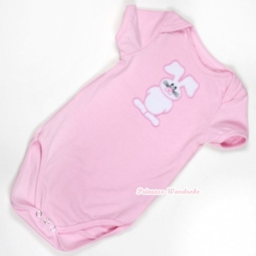 Light Pink Baby Jumpsuit with Bunny Rabbit Print TH303