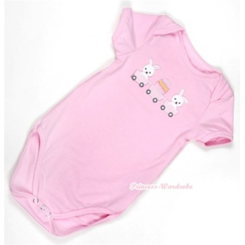 Light Pink Baby Jumpsuit with Bunny Rabbit Egg Print TH304