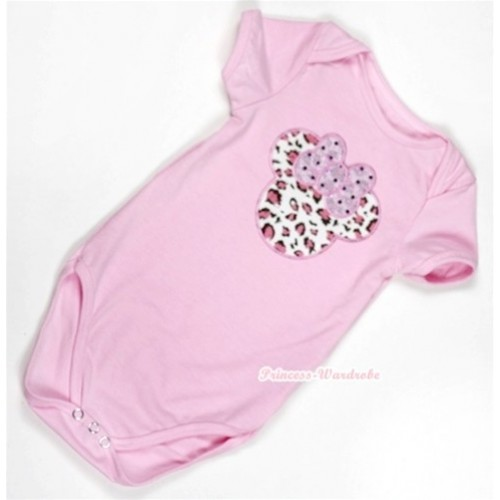 Light Pink Baby Jumpsuit with Light Pink Leopard Minnie Print TH300
