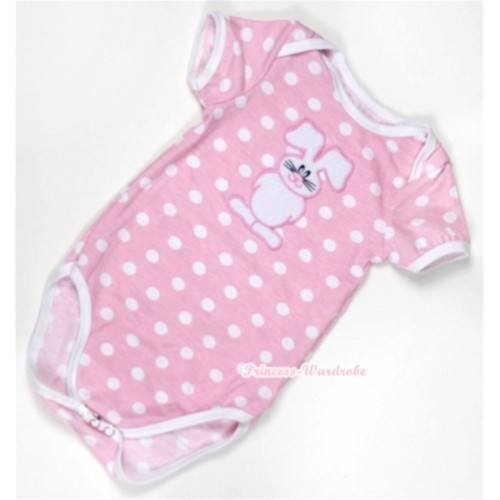 Light Pink White Dots Baby Jumpsuit with Bunny Rabbit Print TH305