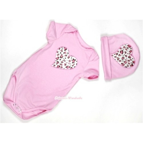 Light Pink Baby Jumpsuit with Light Pink Leopard Heart Print with Cap Set JP26