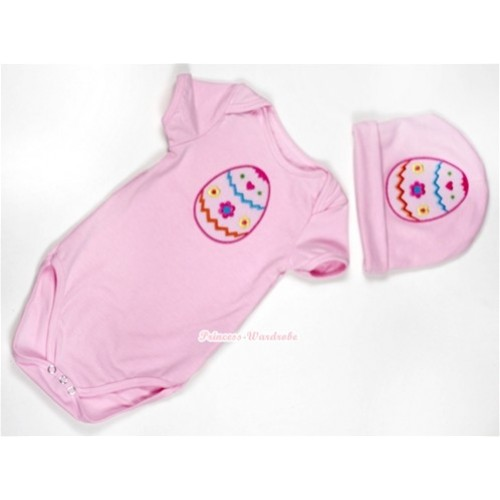 Light Pink Baby Jumpsuit with Easter Egg Print with Cap Set JP29