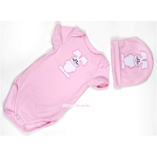 Light Pink Baby Jumpsuit with Bunny Rabbit Print with Cap Set JP30