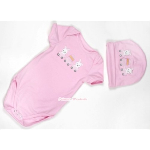 Light Pink Baby Jumpsuit with Bunny Rabbit Egg Print with Cap Set JP31
