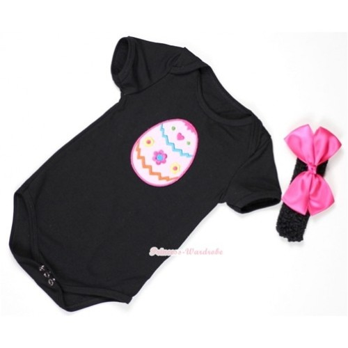 Black Baby Jumpsuit with Easter Egg Print With Black Headband & Hot Pink Silk Bow TH308