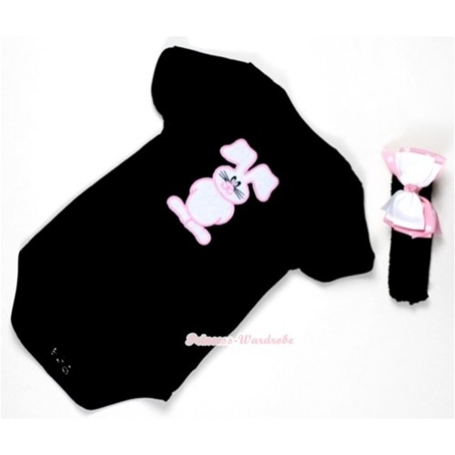 Black Baby Jumpsuit with Bunny Rabbit Print With Black Headband & White & Light Pink White Dots Ribbon Bow TH309