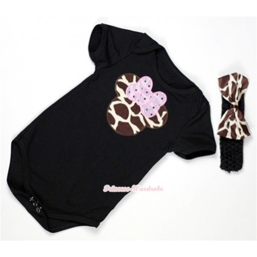 Black Baby Jumpsuit with Brown Giraffe Minnie Print With Black Headband & Brown Giraffe Satin Bow TH312