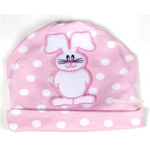 Light Pink White Dots Cotton Cap with Bunny Rabbit Print TH314