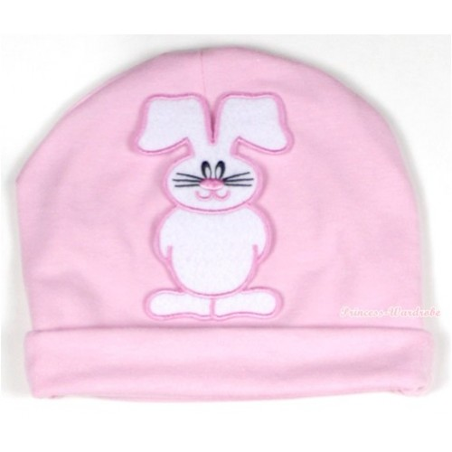 Light Pink Cotton Cap with Bunny Rabbit Print TH328-1