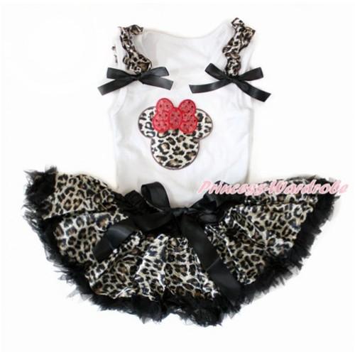 White Baby Pettitop with Leopard Ruffles & Black Bows with Leopard Minnie Print with Black Leopard Newborn Pettiskirt NN169