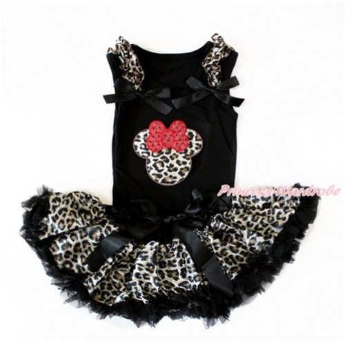 Black Baby Pettitop with Leopard Ruffles & Black Bow with Leopard Minnie Print with Black Leopard Newborn Pettiskirt NG1402