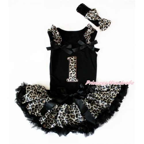 Black Baby Pettitop with Leopard Ruffles & Black Bows with 1st Leopard Birthday Number Print & Black Leopard Newborn Pettiskirt With Black Headband Leopard Satin Bow NG1407