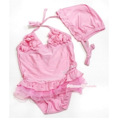 Light Pink Sweet Rosettes Swimming Suit with Swim Cap SW59