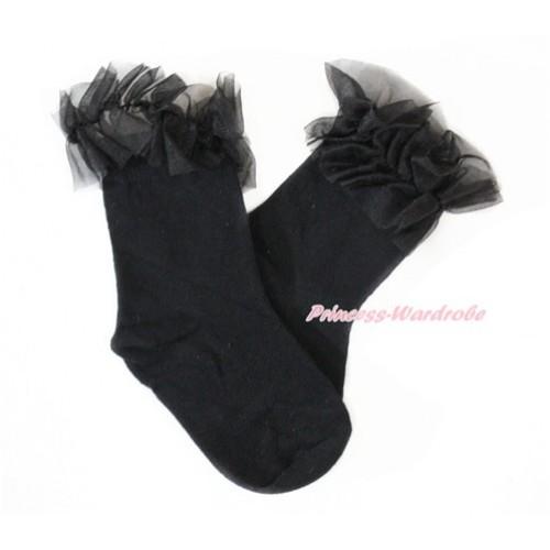 Plain Style Black Socks with Black Ruffles H314