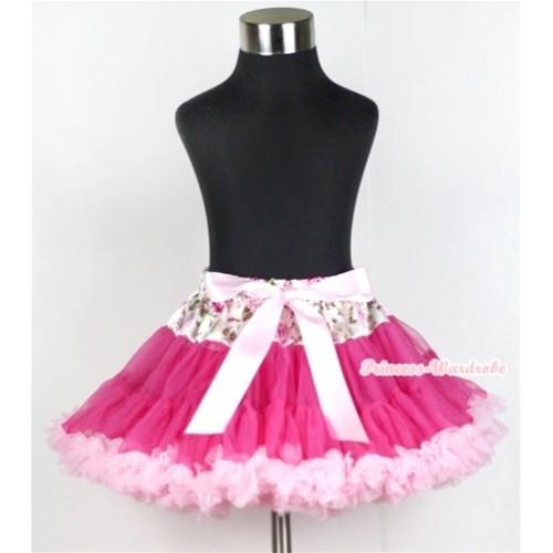 Rose Fusion Waist Hot Light Pink Full Pettiskirt P155
