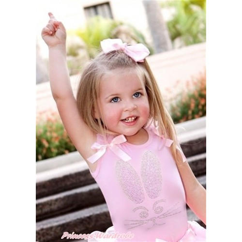 Easter Light Pink Tank Top With Light Pink Ruffles & Light Pink Bow With Sparkle Crystal Bling Rhinestone Bunny Rabbit Print TP67