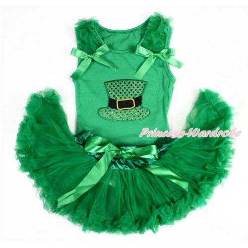 Kelly Green Baby Pettitop with Kelly Green Ruffles & Kelly Green Bows with Sparkle Kelly Green Hat Print with Kelly Green Newborn Pettiskirt BG112