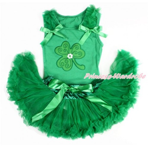 St Patrick's Day Kelly Green Baby Pettitop with Kelly Green Ruffles & Kelly Green Bows with Clover Print with Kelly Green Newborn Pettiskirt BG113