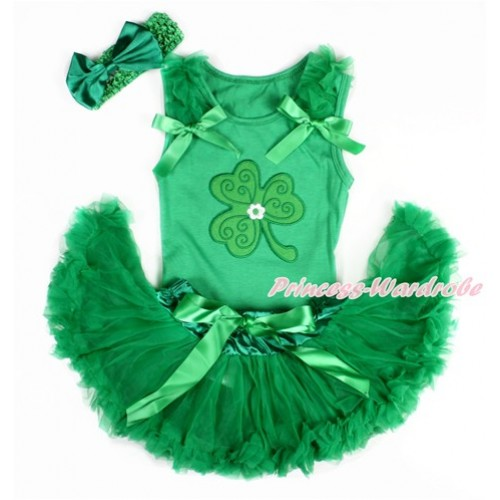 St Patrick's Day Kelly Green Baby Pettitop with Kelly Green Ruffles & Kelly Green Bows with Clover Print & Kelly Green Newborn Pettiskirt With Kelly Green Headband Kelly Green Satin Bow BG117