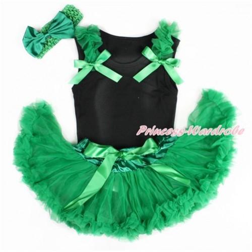 Black Baby Pettitop & Kelly Green Ruffles & Kelly Green Bow with Kelly Green Newborn Pettiskirt With Kelly Green Headband Kelly Green Satin Bow NG1410