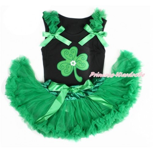 St Patrick's Day Black Baby Pettitop with Kelly Green Ruffles & Kelly Green Bow with Clover Print with Kelly Green Newborn Pettiskirt NG1411