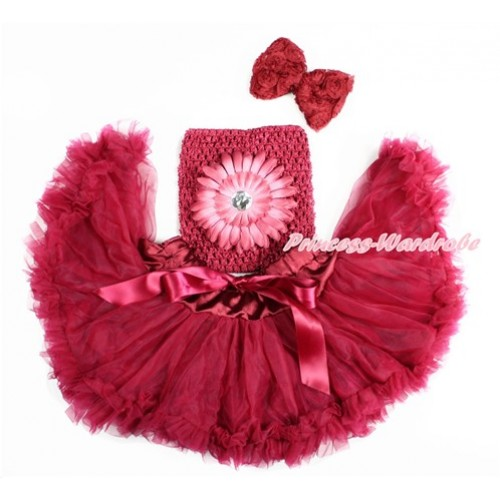Raspberry Wine Red Baby Pettiskirt, Raspberry Wine Red Flower Crochet Tube Top, Wine Red Rose Bow 3PC Set CT672