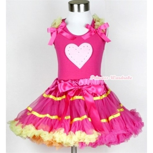 Hot Pink Tank Top with Light Pink Heart Print with Yellow Ruffles & Hot Pink Bow & Rainbow Orange Hot Pink Yellow Mix Pettiskirt MH044