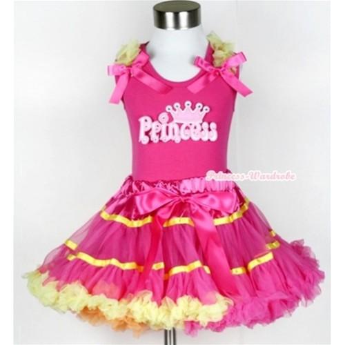 Hot Pink Tank Top with Princess Print with Yellow Ruffles & Hot Pink Bow & Rainbow Orange Hot Pink Yellow Mix Pettiskirt MH046