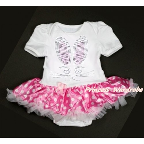 Easter White Baby Jumpsuit Hot Pink White Dots Pettiskirt with Sparkle Crystal Bling Rhinestone Bunny Rabbit Print JS3132