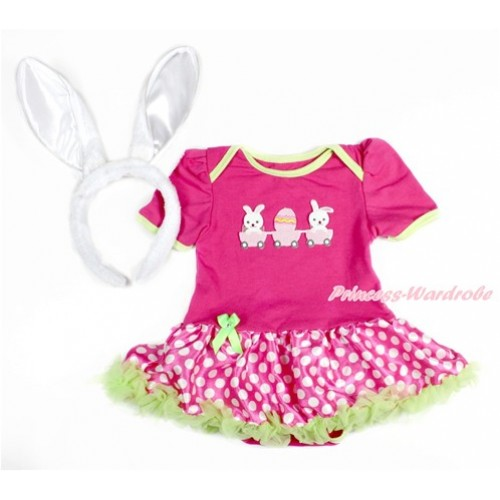 Easter Hot Pink Baby Jumpsuit Hot Pink White Dots Pettiskirt With Bunny Rabbit Egg Print With Rabbit Headband JS3142