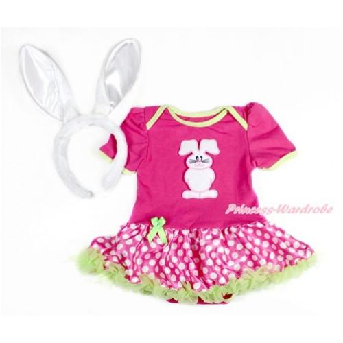 Easter Hot Pink Baby Jumpsuit Hot Pink White Dots Pettiskirt With Bunny Rabbit Print With Rabbit Headband JS3143