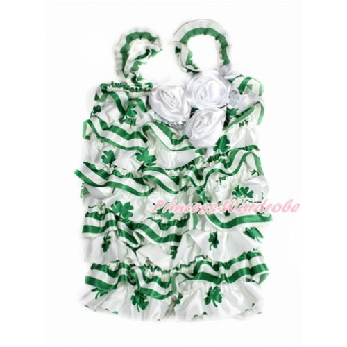 St Patrick's Day Green White Striped Clover Petti Romper with White Bow & Straps & Bunch of White Satin Rosettes& Crystal LR178