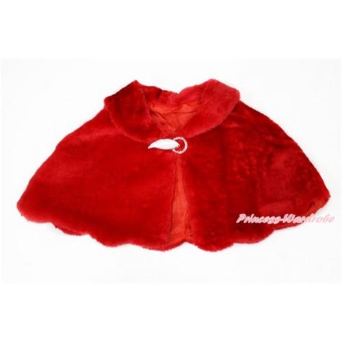 Hot Red Soft Fur Wedding Flower Girl Shawl Coat SH51
